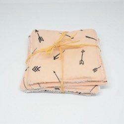Lingettes lavables Tissu et eponge blanche, lot de 5, motif fleches fond nude