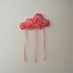 Nuage décoration/accroche barrette Liberty Mitsi rose