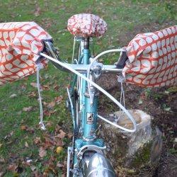 Protege mains guidon vélo + housse assortie impermeable enduit vintage