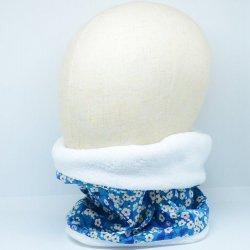 Snood tour de cou Liberty of London Mitsi deep blue doudou blanc